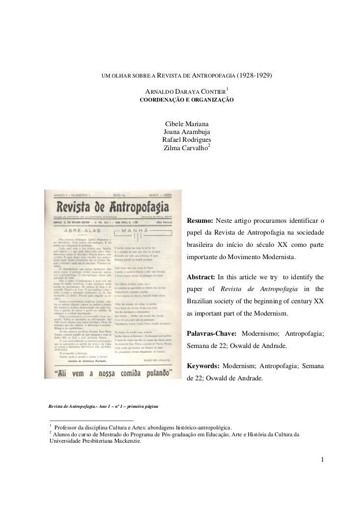 UM OLHAR SOBRE A REVISTA DE ANTROPOFAGIA (1928-1929)                                                 ARNALDO DARAYA CONTIE...