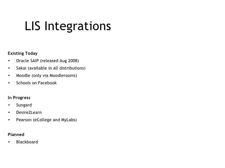 LIS Integrations <ul><li>Existing Today </li></ul><ul><li>Oracle SAIP (released Aug 2008) </li></ul><ul><li>Sakai (availab...