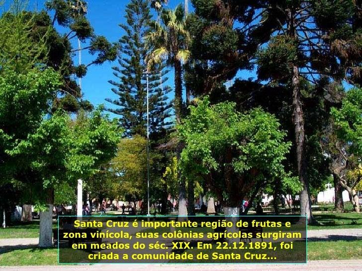 Santa Cruz é importante região de frutas e zona vinícola, suas colônias agrícolas surgiram em meados do séc. XIX. Em 22.12...