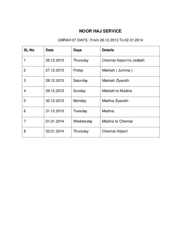 NOOR HAJ SERVICE UMRAH 07 DAYS : From 26.12.2013 To 02.01.2014 SL:No Date Days Details 1 26.12.2013 Thursday Chennai Airpo...