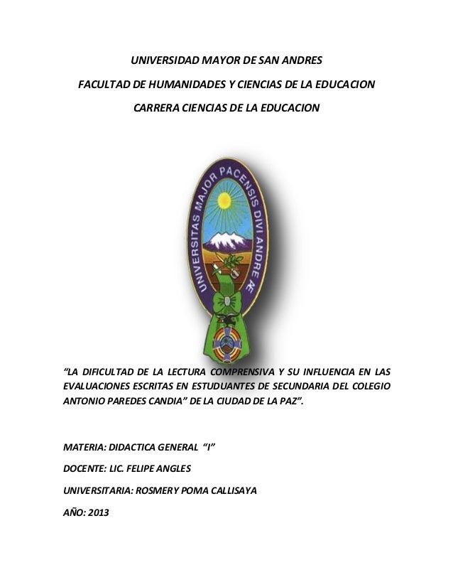 """UNIVERSIDAD MAYOR DE SAN ANDRES FACULTAD DE HUMANIDADES Y CIENCIAS DE LA EDUCACION CARRERA CIENCIAS DE LA EDUCACION """"LA DI..."""