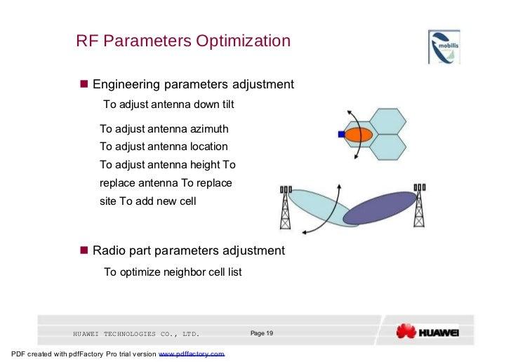 RF Parameters Optimization     Engineering parameters adjustment  To adjust antenna down tilt  To adjust antenna azimuth ...