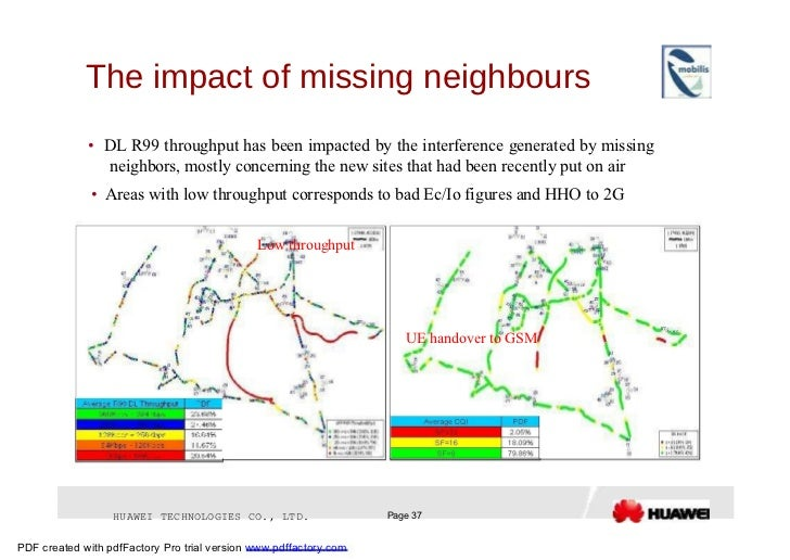 The impact of missing neighbours  •   DL R99 throughput has been impacted by the interference generated by missing neighbo...