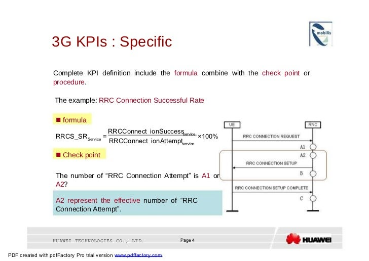 3G KPIs : Specific  Complete KPI definition include the  formula  combine with the  check point  or  procedure .  The exam...