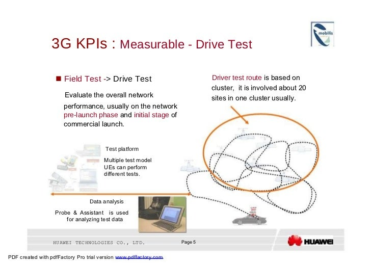 3G KPIs :  Measurable - Drive Test  Driver test route  is based on     Field Test - > Drive Test  cluster,  it is involve...