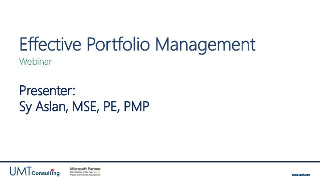 UMT Webinar: Effective Portfolio Management