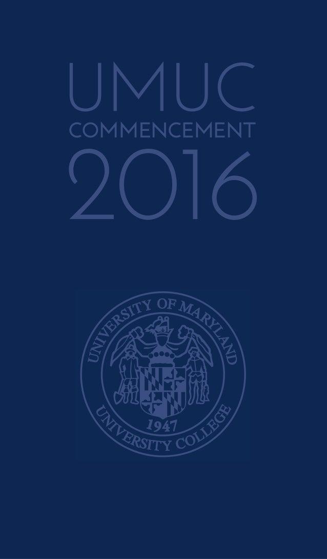 UMUC 2016 Commencement Program