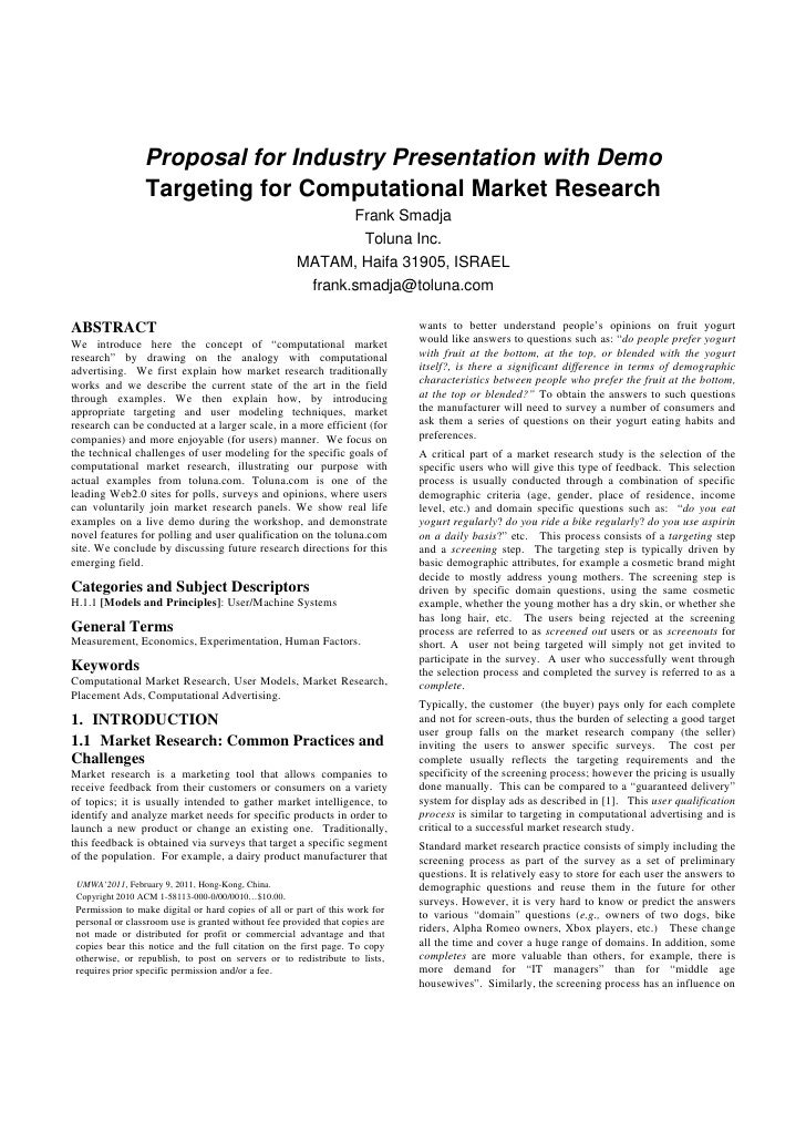 Targeting for Computational Market Research
