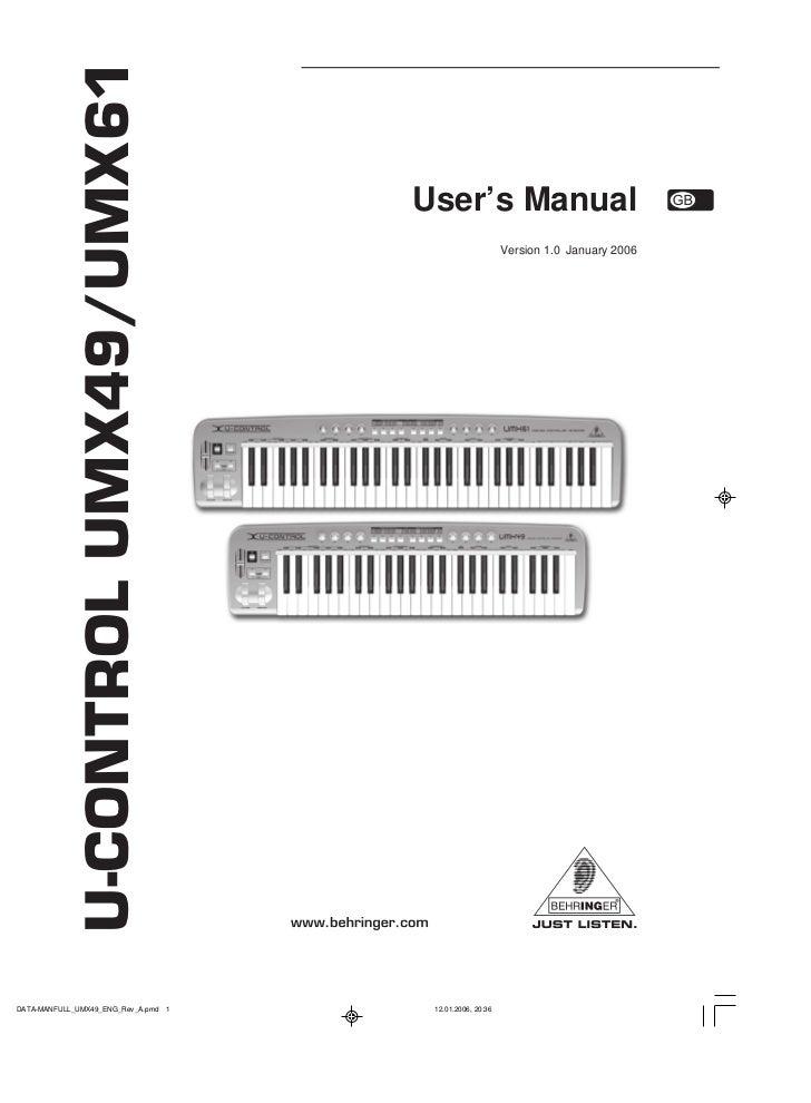 U-CONTROL UMX49/UMX61                         User's Manual                              Version 1.0 January 2006