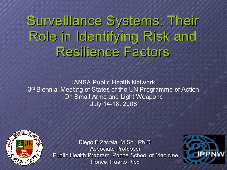 Surveillance Systems: Their Role in Identifying Risk and Resilience Factors Diego E Zavala, M.Sc., Ph.D. Associate Profess...