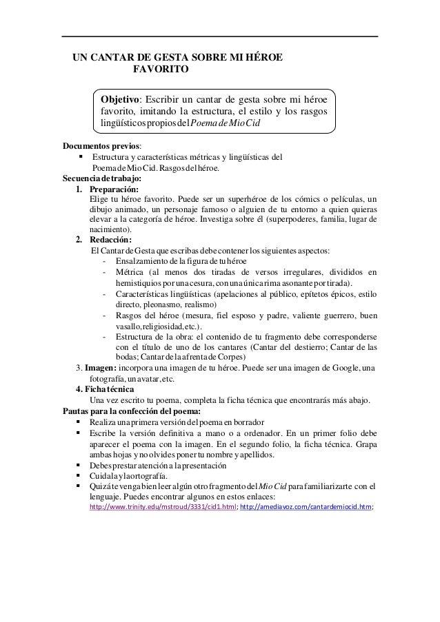 UN CANTAR DE GESTA SOBRE MI HÉROE FAVORITO Documentos previos:  Estructura y características métricas y lingüísticas del ...