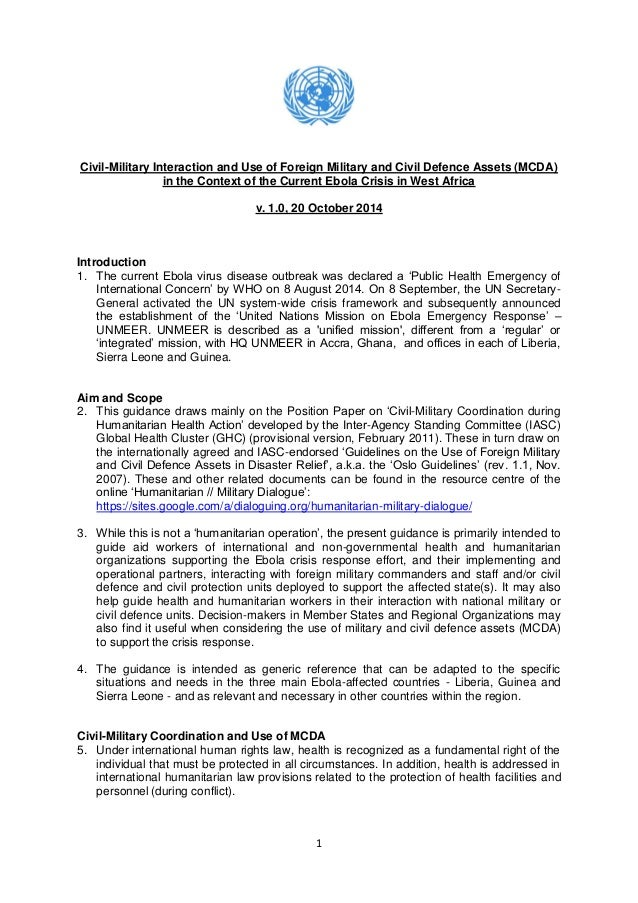 1  Civil-Military Interaction and Use of Foreign Military and Civil Defence Assets (MCDA) in the Context of the Current Eb...