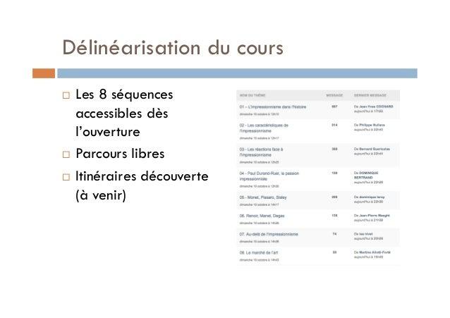 Délinéarisation du cours  ! Les 8 séquences  accessibles dès  l'ouverture  ! Parcours libres  ! Itinéraires découverte  (à...