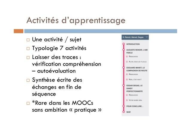 Activités d'apprentissage  ! Une activité / sujet  ! Typologie 7 activités  ! Laisser des traces :  vérification compréhen...