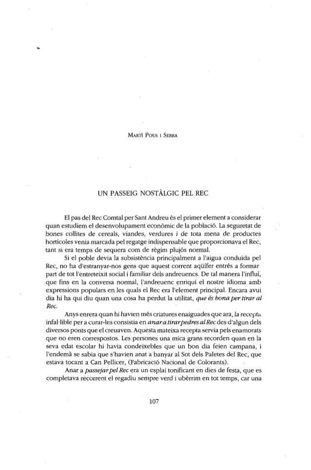 El pas del Rec Comtal per Sant Andreu és el primer element a considerar  qiian estudiem el desenvolupament economic de la ...
