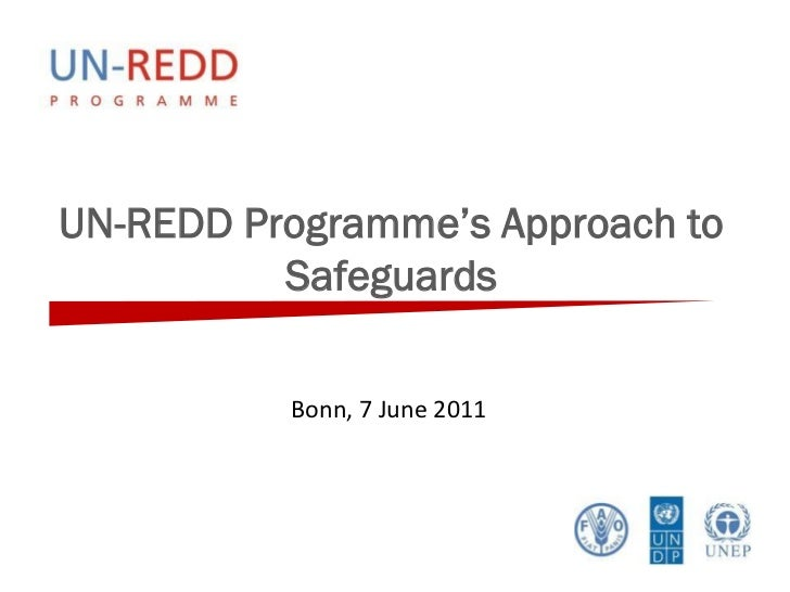 UN-REDD Programme's Approach to          Safeguards          Bonn, 7 June 2011