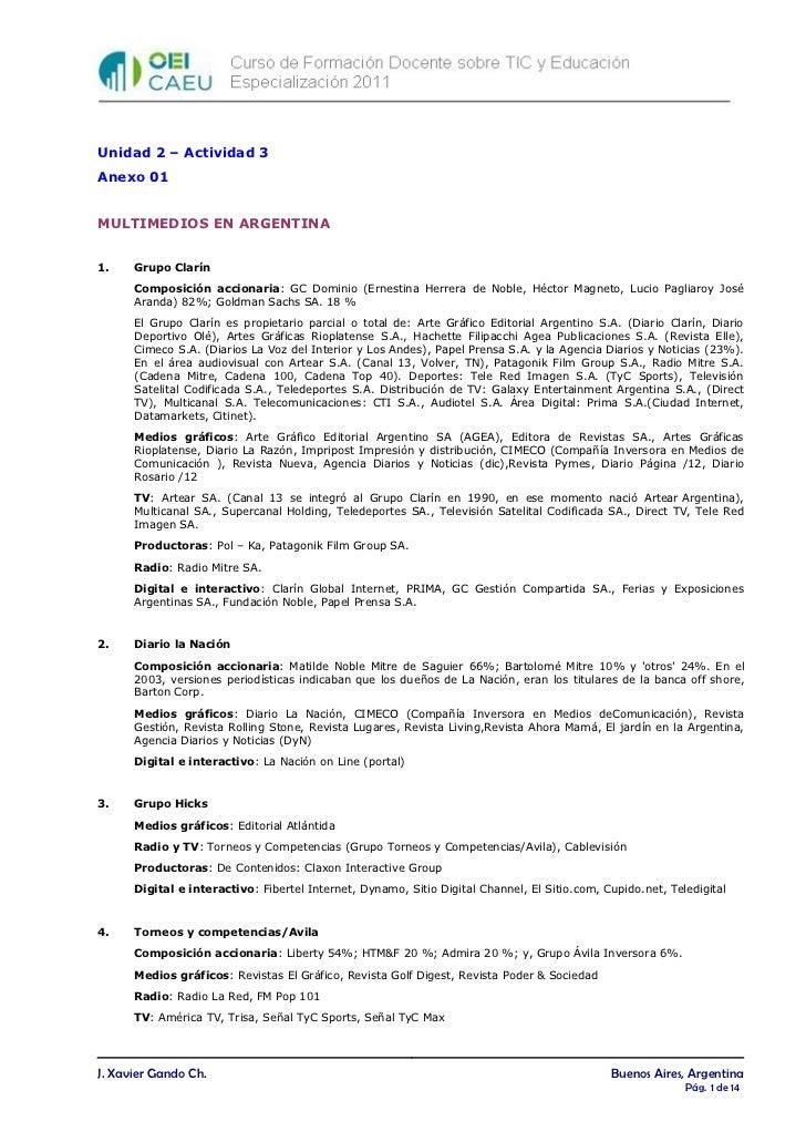 Unidad 2 – Actividad 3Anexo 01MULTIMEDIOS EN ARGENTINA1.    Grupo Clarín      Composición accionaria: GC Dominio (Ernestin...
