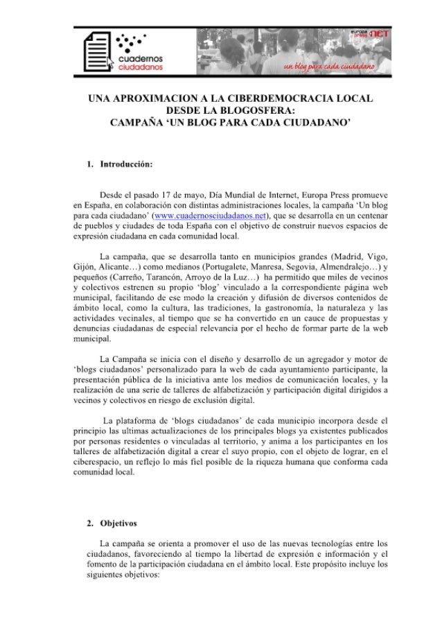 UNA APROXIMACION A LA CIBERDEMOCRACIA LOCAL DESDE LA BLOGOSFERA:  CAMPAÑA 'UN BLOG PARA CADA CIUDADANO'  l.  Introducción:...