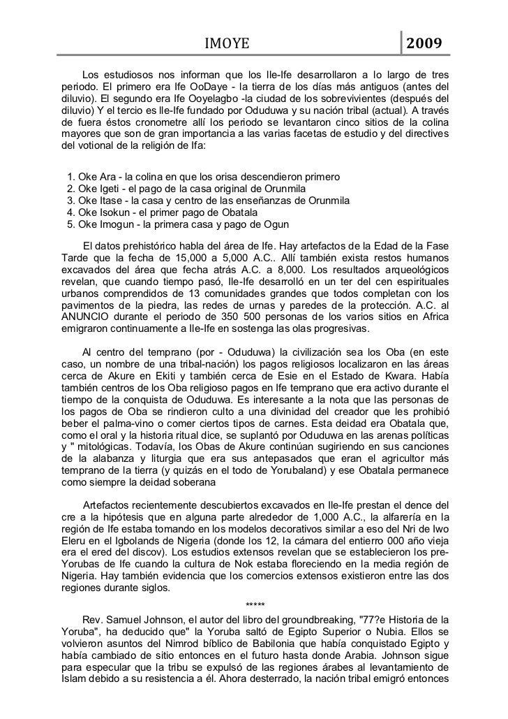 IMOYE                                          2009     Los estudiosos nos informan que los lle-Ife desarrollaron a lo lar...