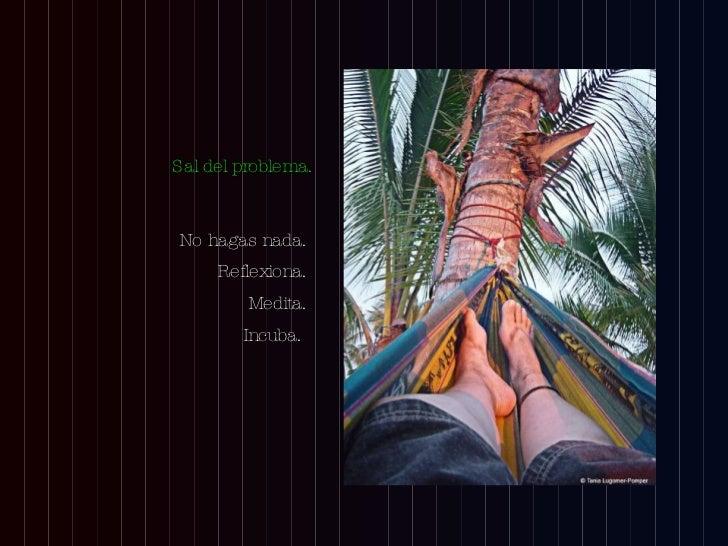 <ul><li>No hagas nada.  </li></ul><ul><li>Reflexiona.  </li></ul><ul><li>Medita.  </li></ul><ul><li>Incuba.  </li></ul>Sal...