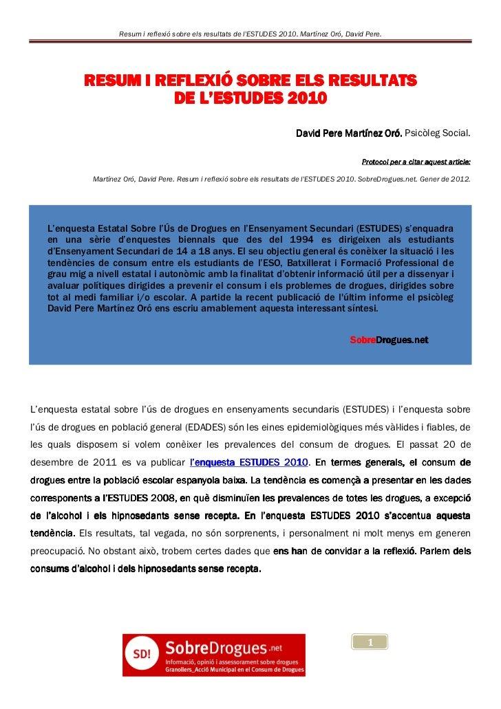 Resum i reflexió sobre els resultats de lESTUDES 2010. Martínez Oró, David Pere.            RESUM I REFLEXIÓ SOBRE ELS RES...
