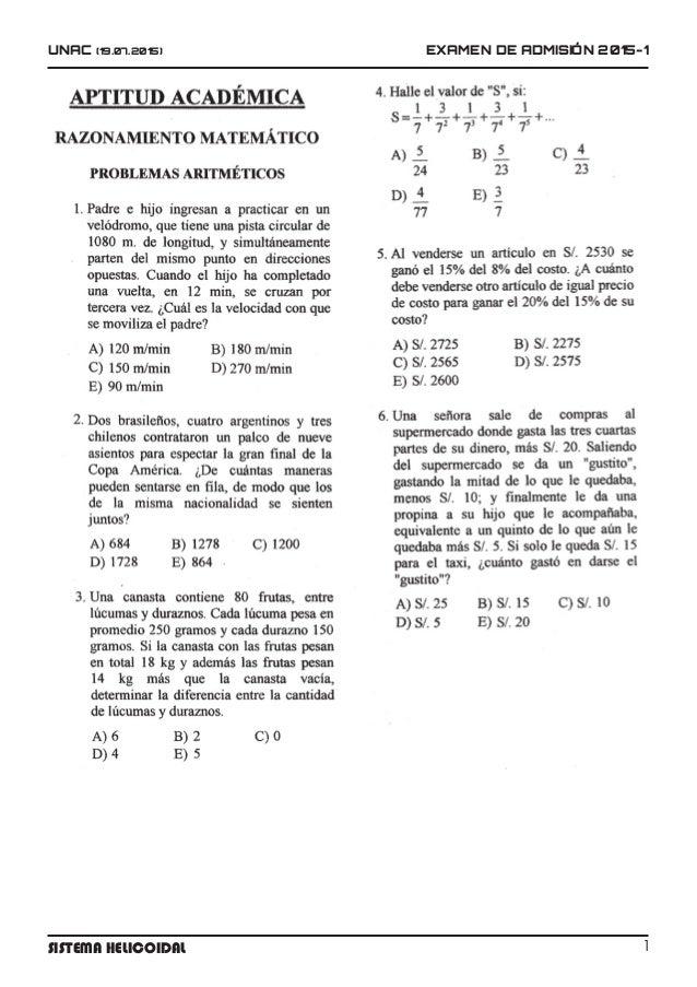 UNAC (19.07.2015) EXAMEN DE ADMISIÓN 2015-1 1Sistema Helicoidal
