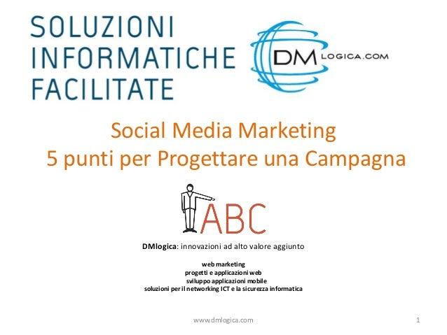 Social Media Marketing 5 punti per Progettare una Campagna  DMlogica: innovazioni ad alto valore aggiunto web marketing pr...