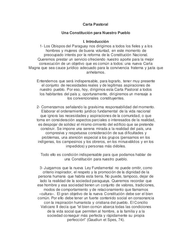 Carta Pastoral Una Constitución para Nuestro Pueblo I. Introducción 1- Los Obispos del Paraguay nos dirigimos a todos los ...
