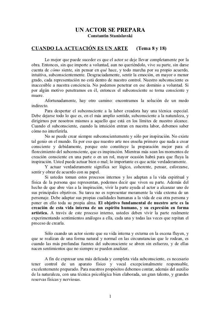 UN ACTOR SE PREPARA                               Constantin StanislavskiCUANDO LA ACTUACIÓN ES UN ARTE                   ...