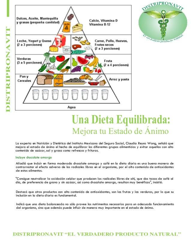 DISTRIPRONAVIT  Una Dieta Equilibrada: Mejora tu Estado de Ánimo  La experta en Nutrición y Dietética del Instituto Mexica...