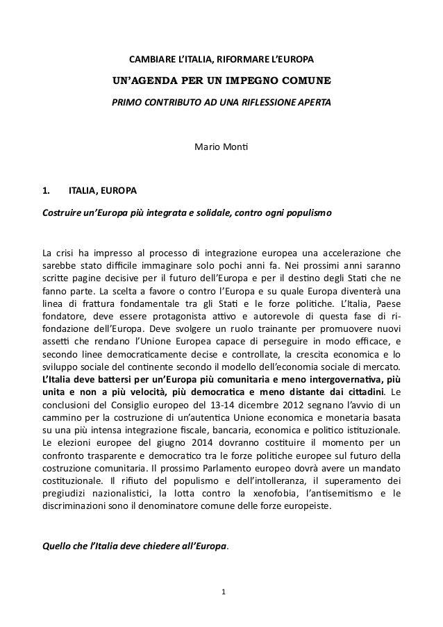 CAMBIARE L'ITALIA, RIFORMARE L'EUROPA                            UN'AGENDA PER UN IMPEGNO COMUNE                  ...