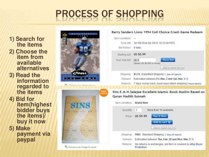 PROCESS OF SHOPPING1) Search for   the items2) Choose the   item from   available   alternatives3) Read the   information ...