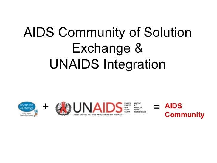 AIDS Community of Solution Exchange & UNAIDS Integration + = AIDS  Community