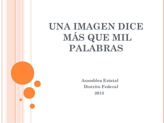 UNA IMAGEN DICE MÁS QUE MIL PALABRAS  Asamblea Estatal Distrito Federal 2013