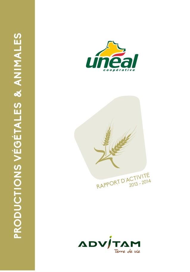 PRODUCTIONSVÉGÉTALES&ANIMALES RAPPORT D'ACTIVITÉ 2013 - 2014