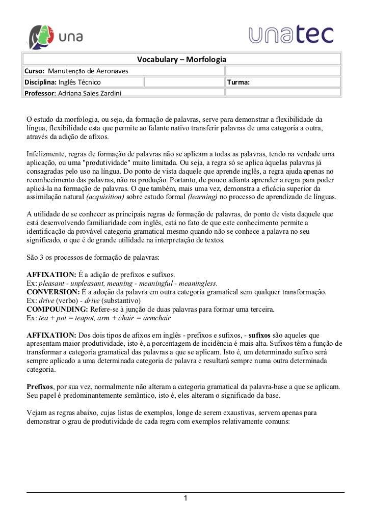 w                                      Vocabulary – MorfologiaCurso: Manutenção de AeronavesDisciplina: Inglês Técnico    ...