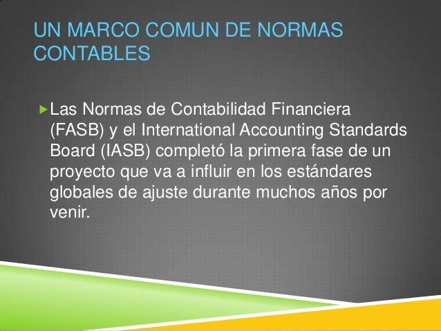 Una marco comun de normas contables Slide 2