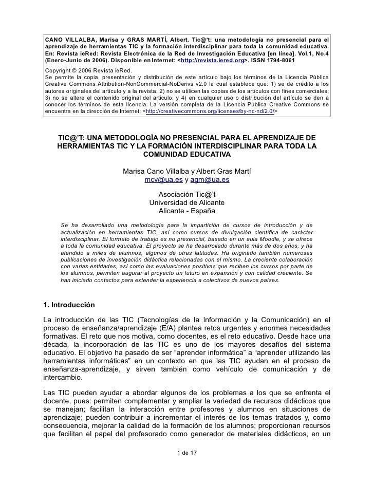 CANO VILLALBA, Marisa y GRAS MARTÍ, Albert. Tic@'t: una metodología no presencial para el aprendizaje de herramientas TIC ...