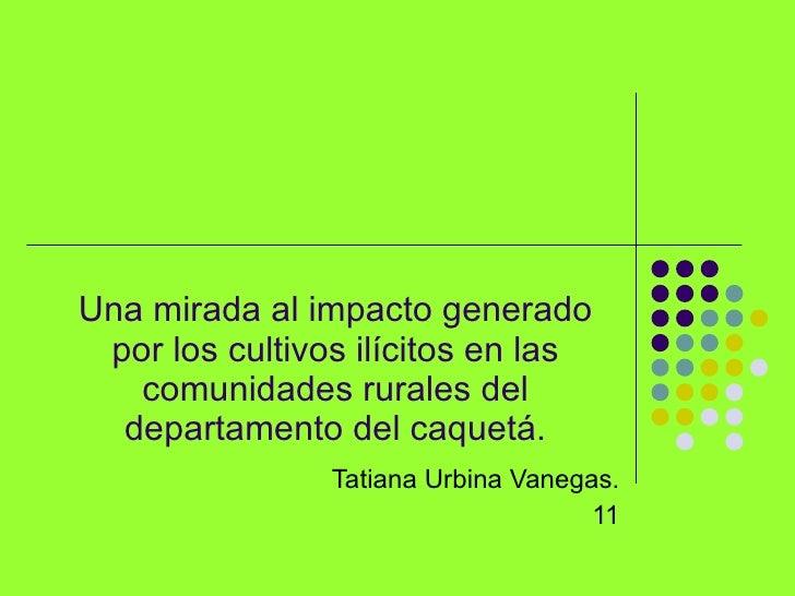 Una mirada al impacto generado  por los cultivos ilícitos en las    comunidades rurales del   departamento del caquetá.   ...