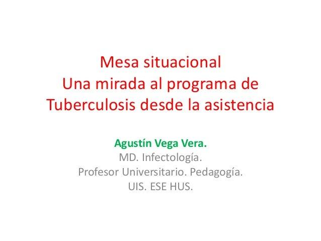 Mesa situacional  Una mirada al programa deTuberculosis desde la asistencia           Agustín Vega Vera.            MD. In...