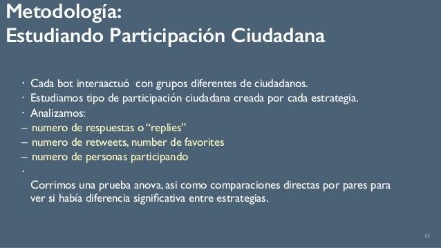 Metodología:  Estudiando Participación Ciudadana 11 ! Cada bot interaactuó con grupos diferentes de ciudadanos. ! Estudia...