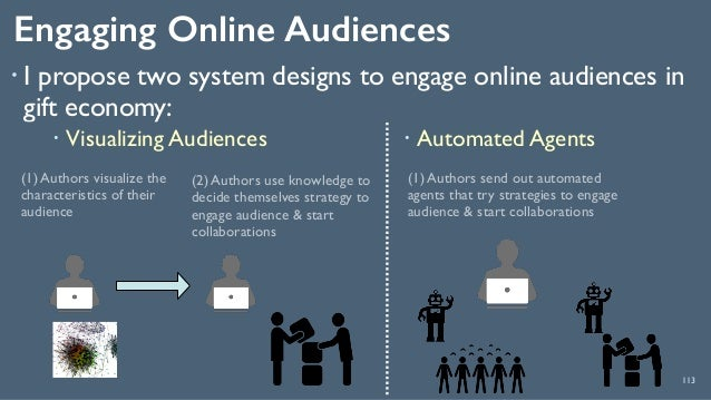 Engaging Online Audiences 113 ! I propose two system designs to engage online audiences in gift economy: (1) Authors visua...