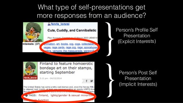 What type of self-presentations get more responses from an audience? {Person's Post Self Presentation (Implicit Interests)...