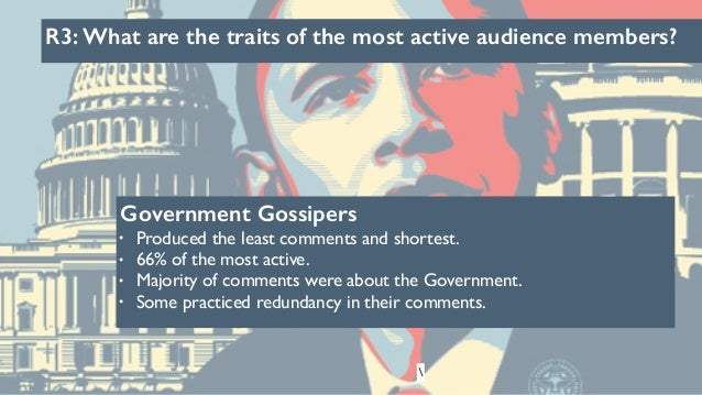 R3: What are the traits of the most active audience members? Government Gossipers • Produced the least comments and shorte...
