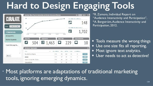 Hard to Design Engaging Tools 134 ! Most platforms are adaptations of traditional marketing tools, ignoring emerging dynam...