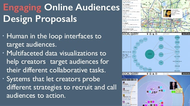 Engaging Online Audiences Design Proposals 147 ! Human in the loop interfaces to target audiences. ! Multifaceted data vi...