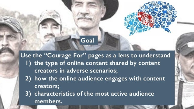 """Goal Use the """"Courage For"""" pages as a lens to understand 1) the type of online content shared by content creators in adver..."""