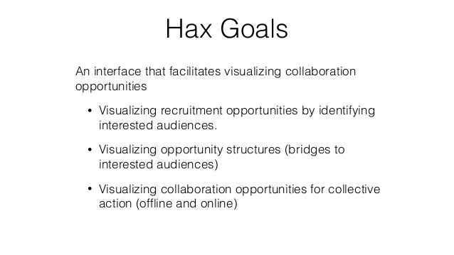 Hax Goals An interface that facilitates visualizing collaboration opportunities • Visualizing recruitment opportunities by...