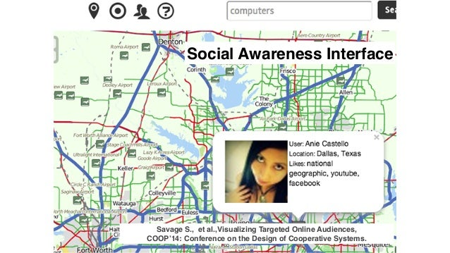 165 Social Awareness Interface Savage S., et al.,Visualizing Targeted Online Audiences, COOP'14: Conference on the Design...