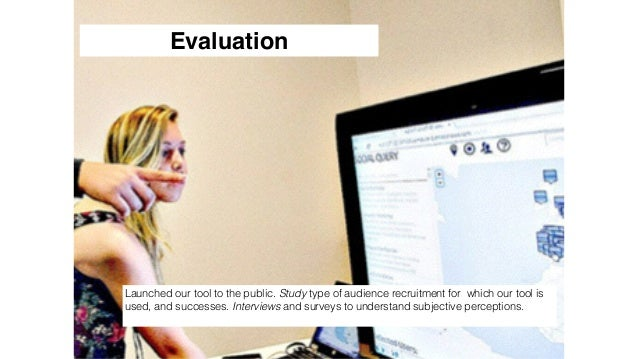 166 Evaluation Launched our tool to the public. Study type of audience recruitment for which our tool is used, and success...